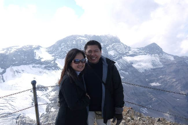 Our photo in Switzerland, with Alps Mountain on the background.
