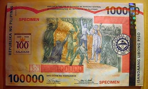 100000 peso bill front