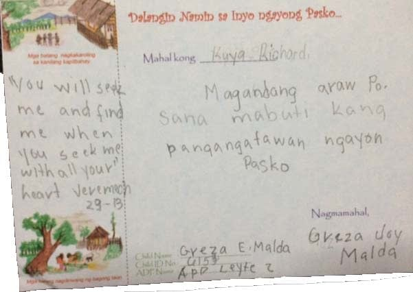 A letter sent to my by one of the kids I'm sponsoring.
