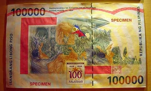 100000 peso bill back